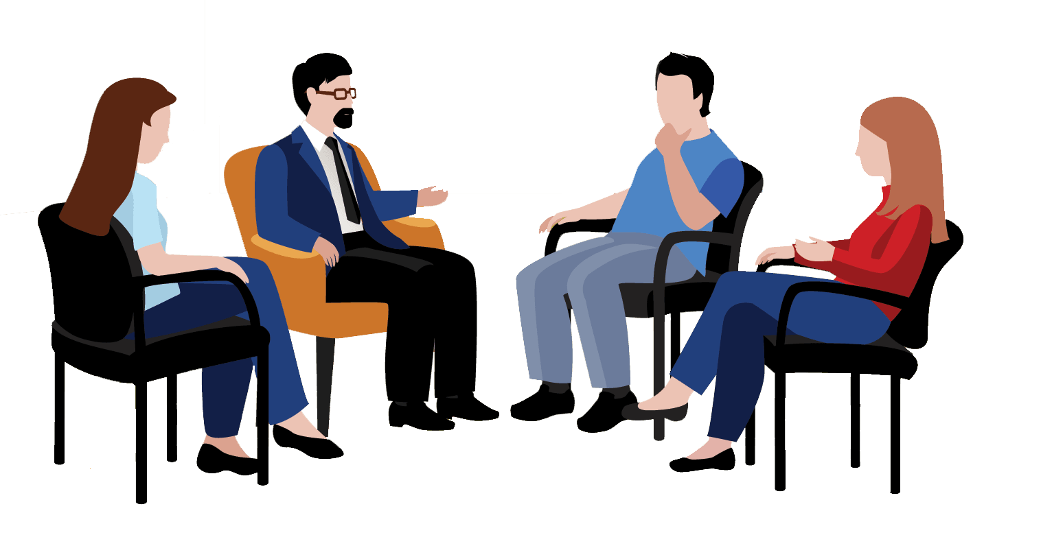 Diverse Support Group Meeting Featuring Four Individuals Sharing With a Professional Healthcare Provider While Seated